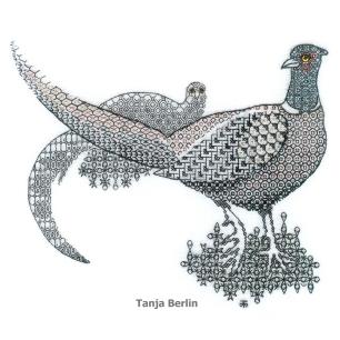 Class 1 C - blackwork-pheasants-tanja-berlin1